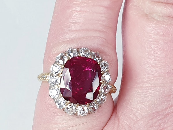 Stunning 3.93ct natural ruby and diamond cluster ring sku 3834  DBGEMS - image 5
