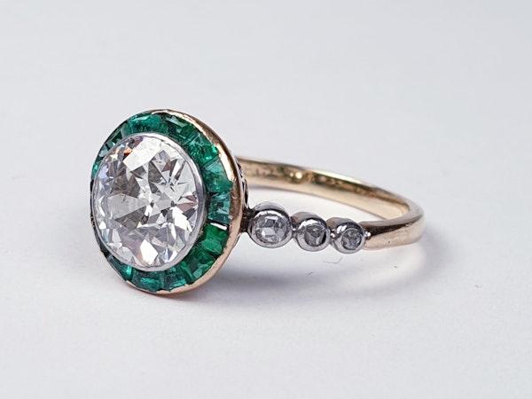 Edwardian emerald and diamond target engagement ring sku 4835  DBGEMS - image 2