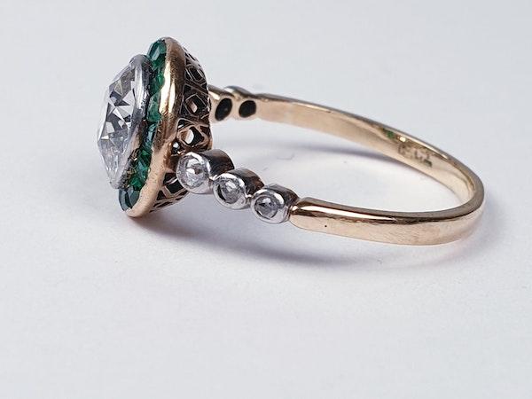 Edwardian emerald and diamond target engagement ring sku 4835  DBGEMS - image 3