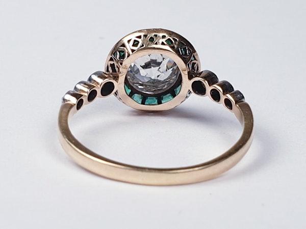 Edwardian emerald and diamond target engagement ring sku 4835  DBGEMS - image 4