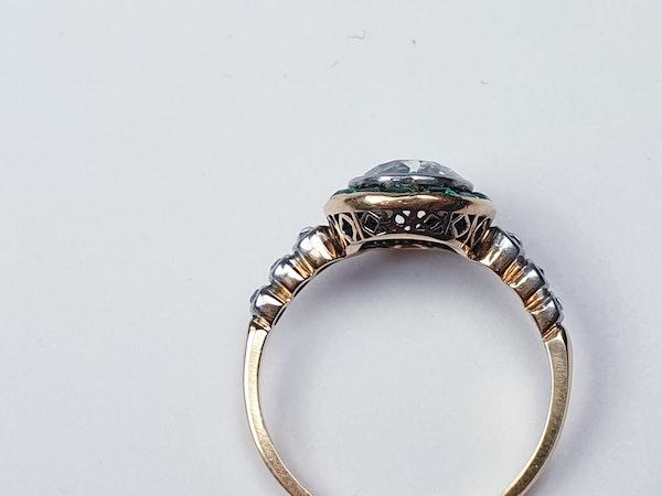 Edwardian emerald and diamond target engagement ring sku 4835  DBGEMS - image 5