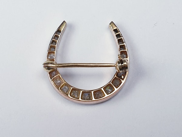 Edwardian diamond horseshoe brooch sku 4838  DBGEMS - image 2