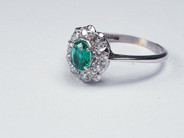 Art deco emerald and diamond cluster ring sku 4839  DBGEMS - image 2