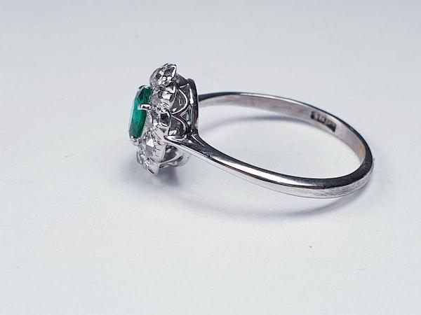 Art deco emerald and diamond cluster ring sku 4839  DBGEMS - image 3