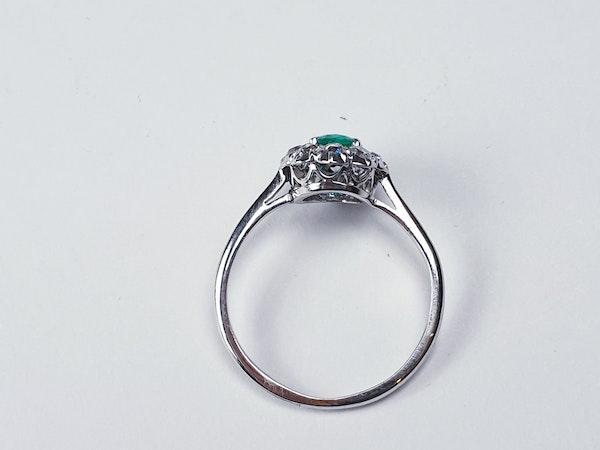 Art deco emerald and diamond cluster ring sku 4839  DBGEMS - image 4