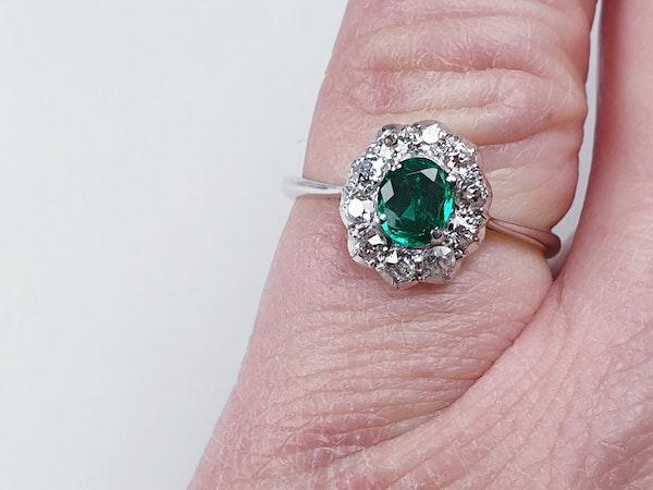 Art deco emerald and diamond cluster ring sku 4839  DBGEMS - image 5