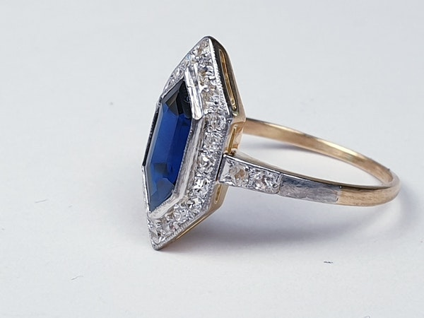 Rare Edwardian trapezoid sapphire and diamond ring SKU 4842  DBGEMS - image 2