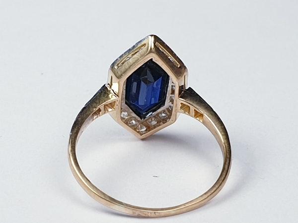 Rare Edwardian trapezoid sapphire and diamond ring SKU 4842  DBGEMS - image 3