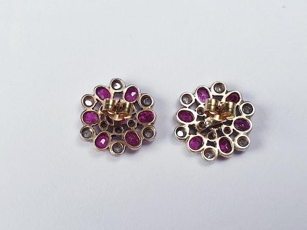 Antique Burmese ruby and rose cut diamond snow flake earrings sku 4844  DBGEMS - image 2