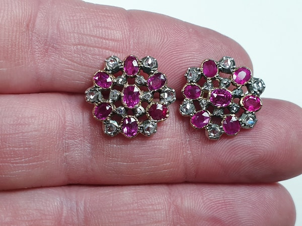 Antique Burmese ruby and rose cut diamond snow flake earrings sku 4844  DBGEMS - image 3