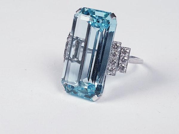 Aquamarine and diamond dress ring sku 4845  DBGEMS - image 2