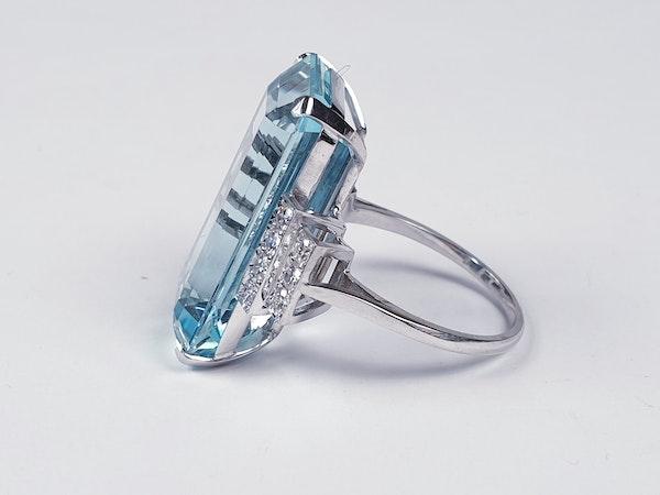 Aquamarine and diamond dress ring sku 4845  DBGEMS - image 3