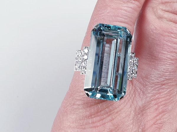 Aquamarine and diamond dress ring sku 4845  DBGEMS - image 5