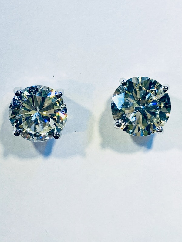 Diamond Ear Studs, Total weight of Diamonds 6.76ct - image 2