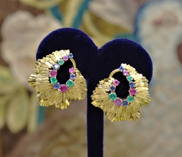 A very fine pair of Sapphire, Ruby & Emerald Earrings set in 18ct Yellow Gold, English, Circa 1980 - image 1