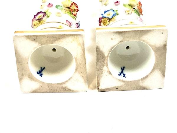 Pair of 19th century Meissen candlesticks - image 4