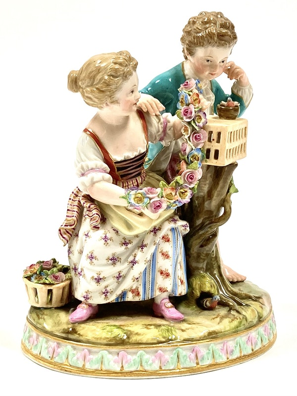Meissen group of courting couple - image 2