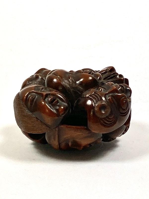 Wood Netsuke of masks - image 3