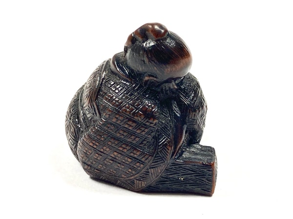Wood netsuke of sage - image 2
