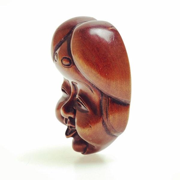 Wood mask Netsuke of Okame - image 3