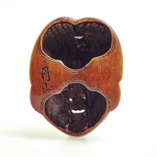 Wood mask Netsuke of Okame - image 4