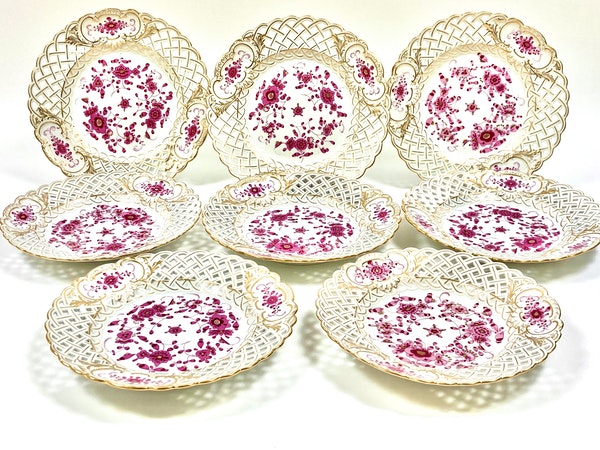 Reticulated Meissen Indian purple plates - image 3