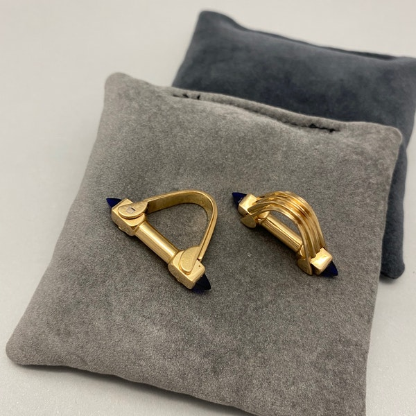 Gold Cufflinks in 18ct Yellow Gold with Paste Stones date circa 1940 SHAPIRO & Co since1979 - image 3