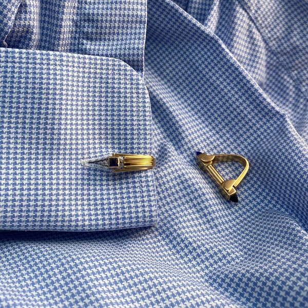 Gold Cufflinks in 18ct Yellow Gold with Paste Stones date circa 1940 SHAPIRO & Co since1979 - image 2