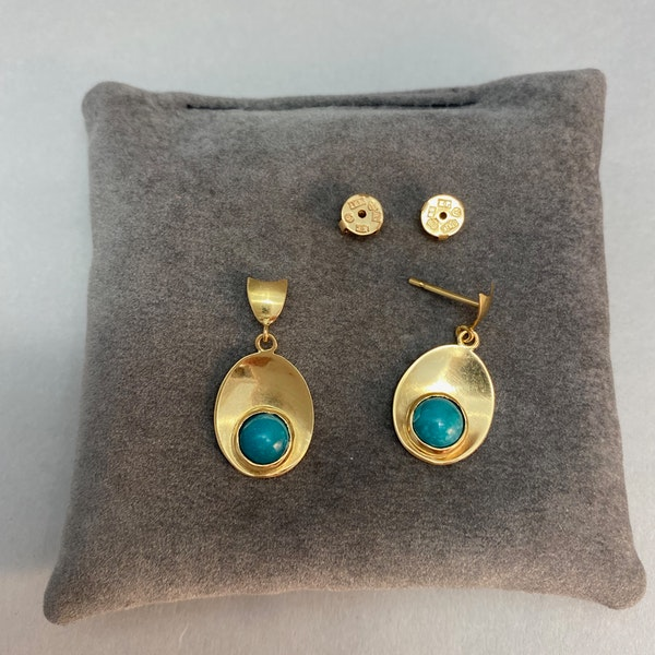 Turquoise Earrings in 18ct Gold by Karl-Erik-Palmberg date Sweden-Falköping 1967 SHAPIRO & Co since1979 - image 3