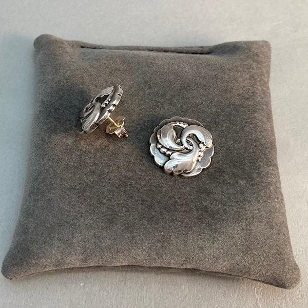 Georg Jensen Silver Earrings date post 1945 mark, SHAPIRO & Co since1979 - image 3