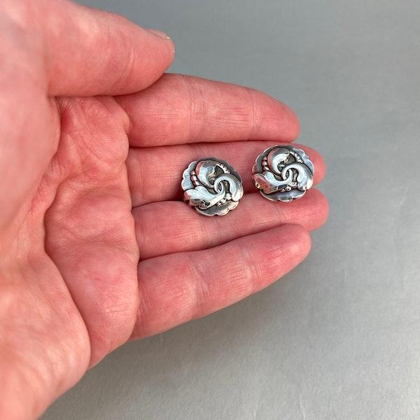 Georg Jensen Silver Earrings date post 1945 mark, SHAPIRO & Co since1979 - image 5