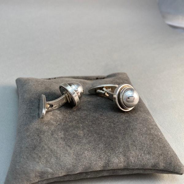 Georg Jensen Cufflinks in Silver date London 1995  SHAPIRO & Co since1979 - image 3