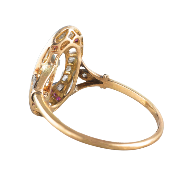 An Aquamarine, Ruby, and Diamond Ring - image 2