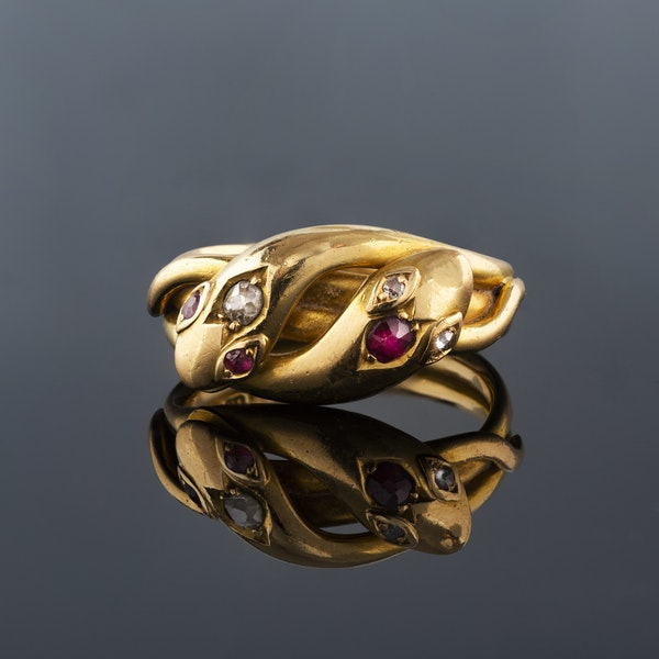 A 1900 Diamond and Ruby Snake Ring - image 1