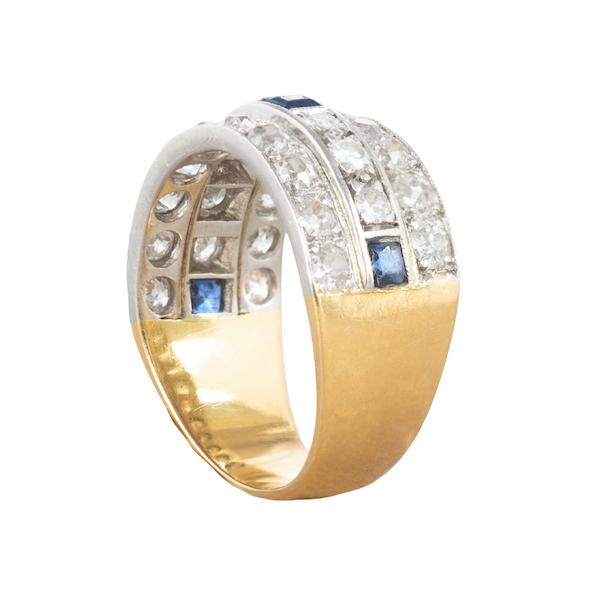 A Diamond Sapphire three row ring - image 6