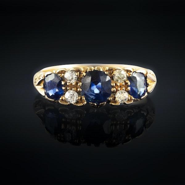 A three Sapphire Diamond Ring - image 1