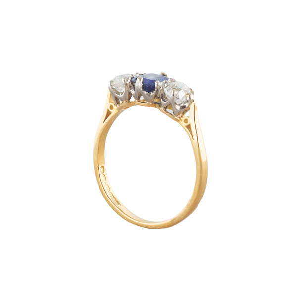 A three stone Sapphire Diamond Ring - image 2