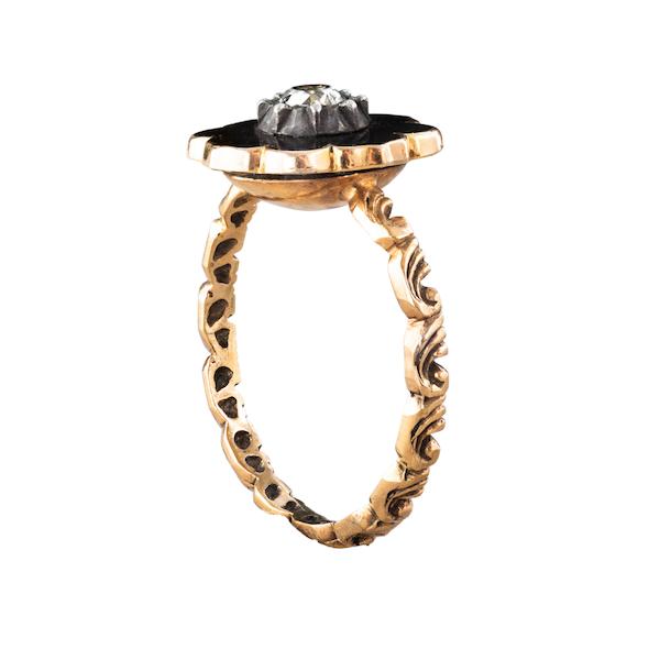 A Black Enamel Diamond ring - image 2