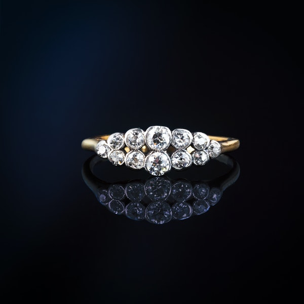 A Platinum two row Diamond Boat ring - image 1