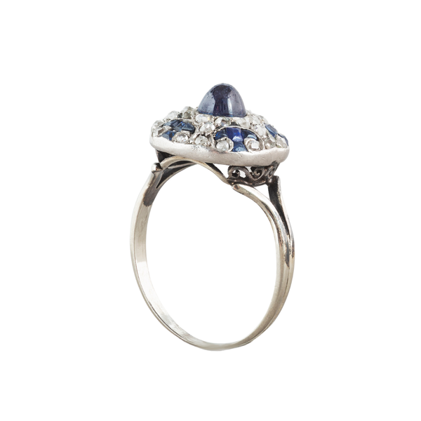 A 1910 Sapphire, Diamond and Platinum bottle nose ring - image 3