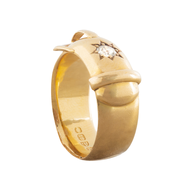 A Gold Diamond Buckle ring - image 2