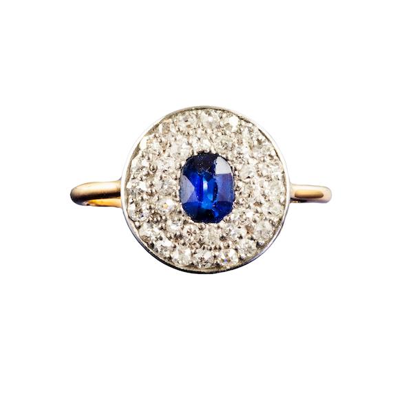 An Art Deco Burma Sapphire and Diamond ring - image 2
