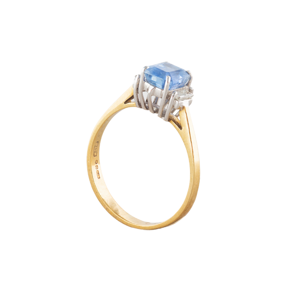 A Cornflower Sapphire and Diamond ring - image 2