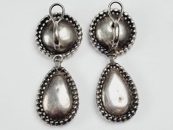 Fine 18th century Black dot paste drop earrings  sku 4856  DBGEMS - image 2