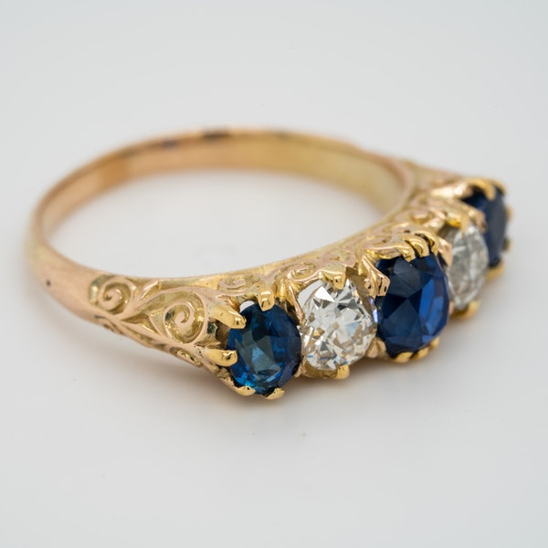 5 stone carved half hoop sapphire and diamond ring - image 2