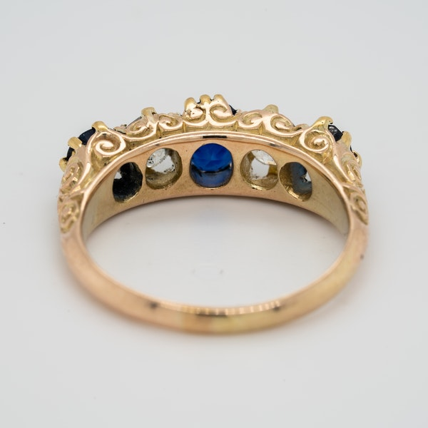 5 stone carved half hoop sapphire and diamond ring - image 4