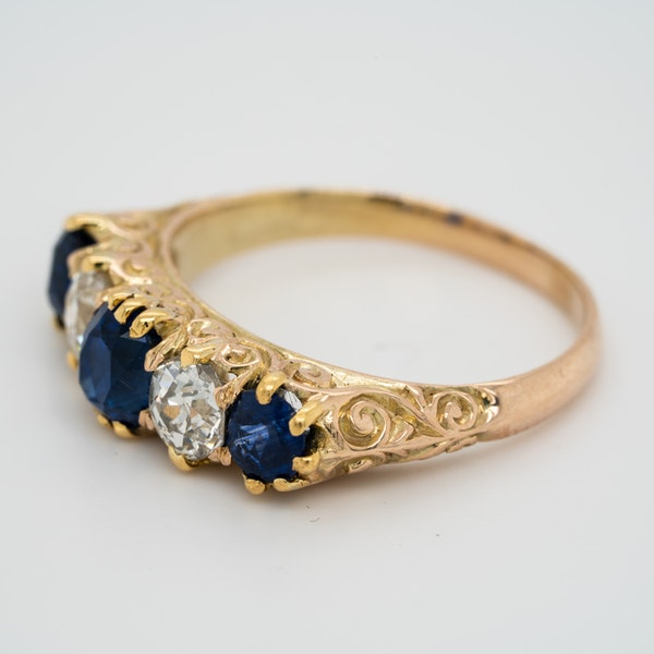 5 stone carved half hoop sapphire and diamond ring - image 3
