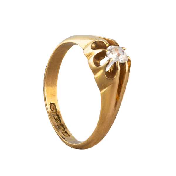 An Old European Cut Solitaire Gold ring - image 2