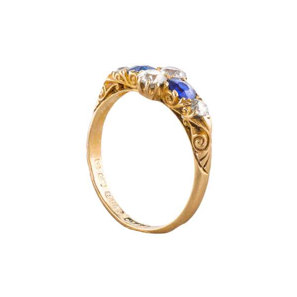 A Victorian carved Sapphire and Diamond half hoop ring - image 2