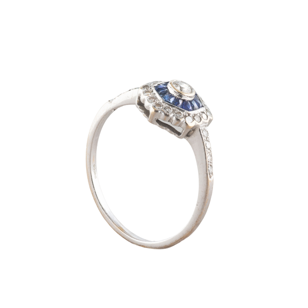 A hexagonal Sapphire and Diamond ring - image 2